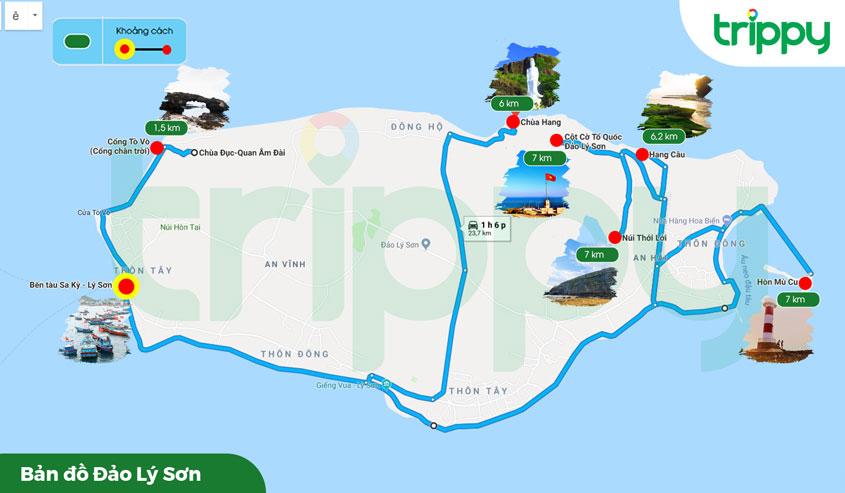 Bản đồ du lịch đảo Lý Sơn Quảng Ngãi