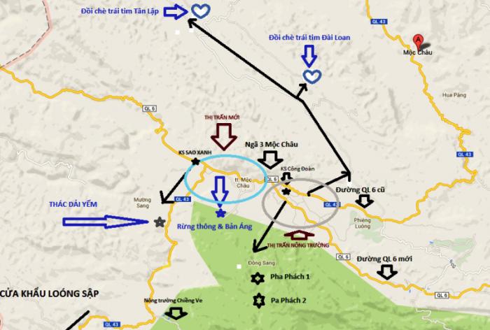 Bản đồ du lịch Mộc Châu, Sơn La