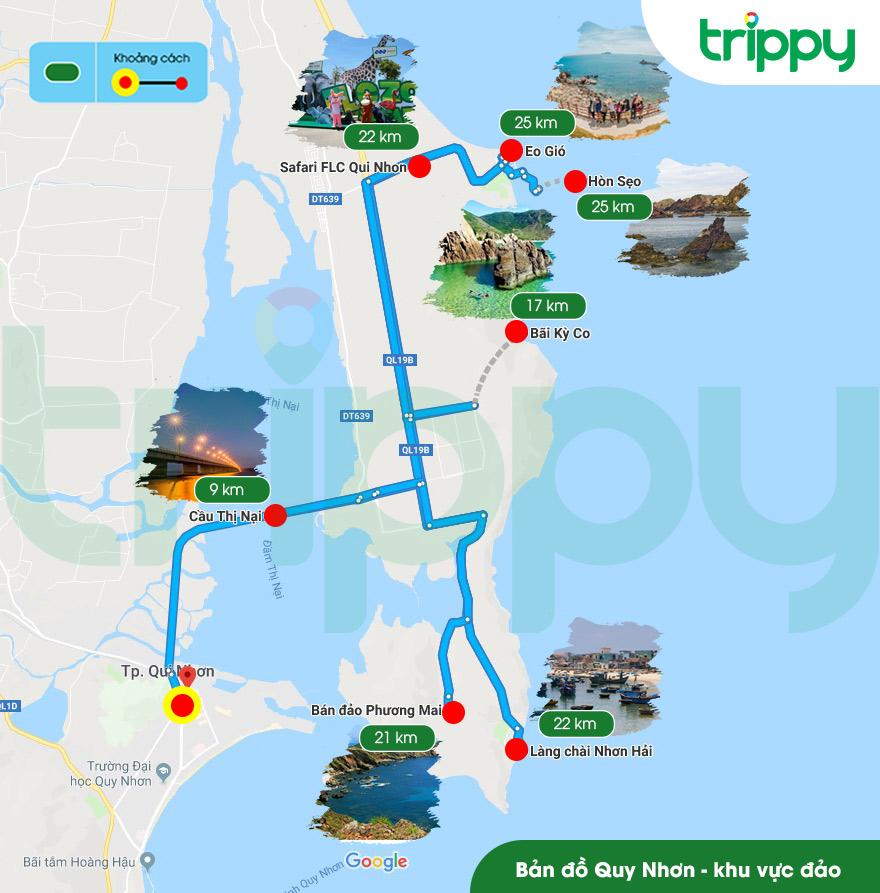 Bản đồ du lịch Quy Nhơn - Bản đồ Quy Nhơn - Khu vực đảo (Trippy)