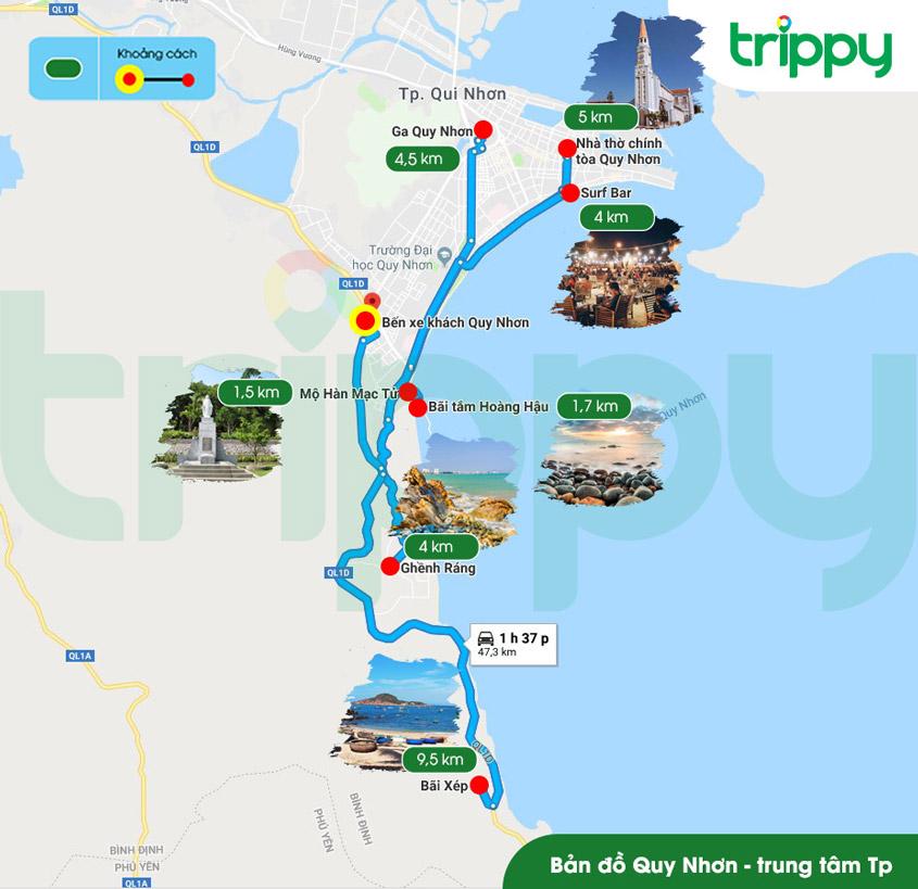 Bản đồ du lịch Quy Nhơn - Bản đồ Quy Nhơn