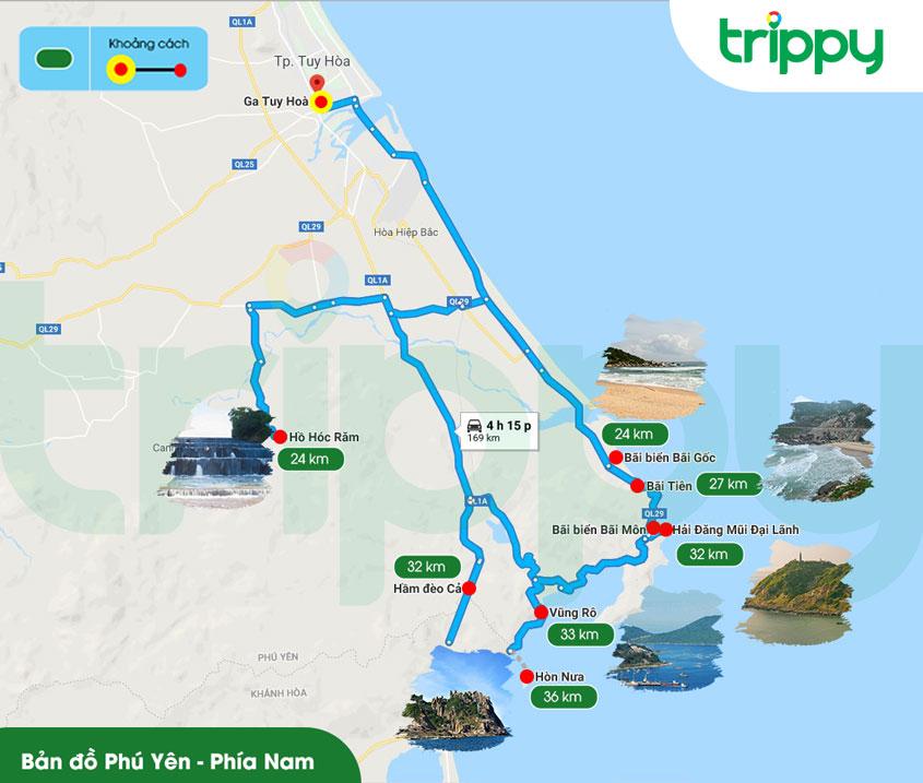 Bản đồ Phú Yên phía Nam