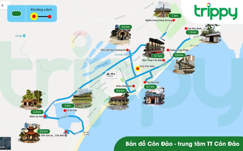 Bản đồ du lịch Côn Đảo khu vực trung tâm