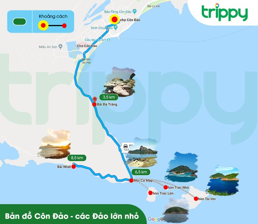 Bản đồ du lịch Côn Đảo các đảo lớn nhỏ