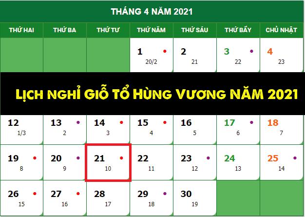 Lịch nghỉ lễ Giỗ tổ Hùng Vương 2021