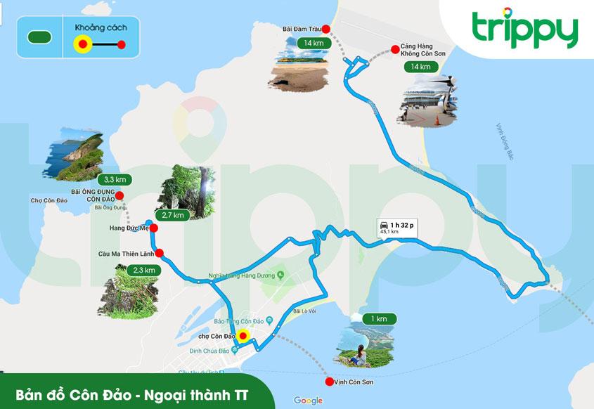 Bản đồ du lịch Côn Đảo khu vực ngoại thành thị trấn
