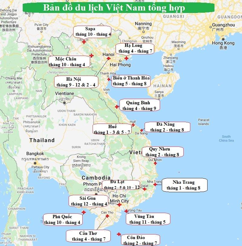 Bản đồ di lịch Việt Nam theo tháng đẹp nhất trong năm