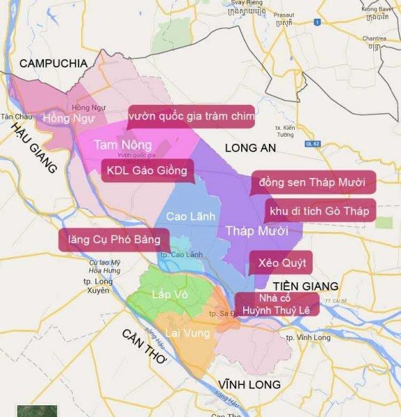 Bản đồ Đồng Tháp