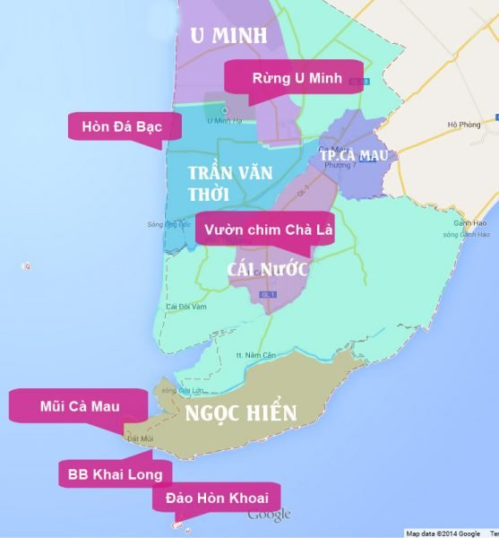 Bản đồ du lịch Cà Mau