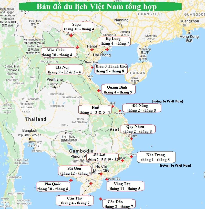 Bản đồ du lịch Việt Nam theo tháng