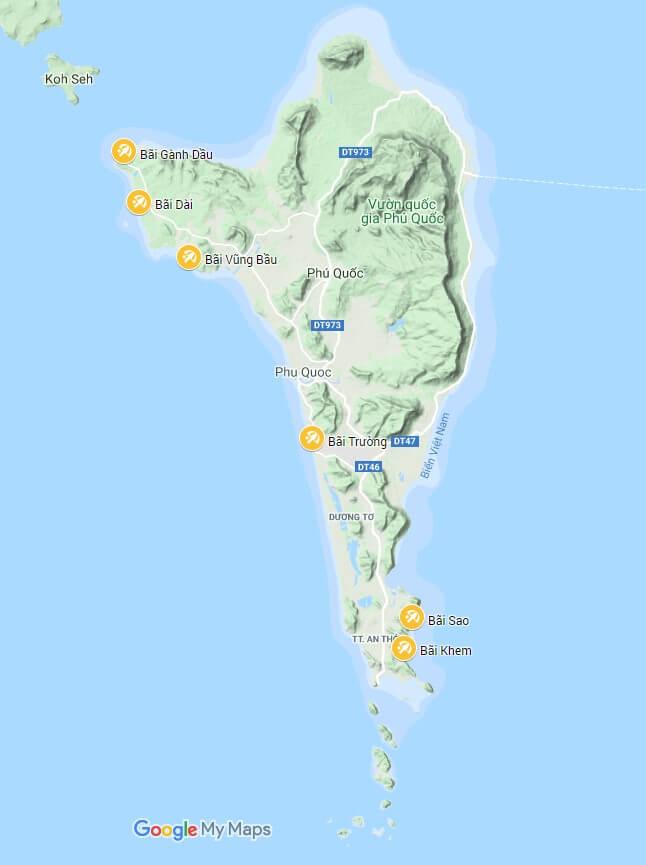 Bản đồ vị trí các bãi biển trên đảo.