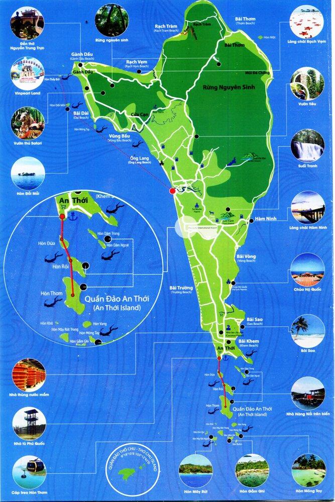 Sơ đồ tham quan đảo hòn Thơm Phú Quốc