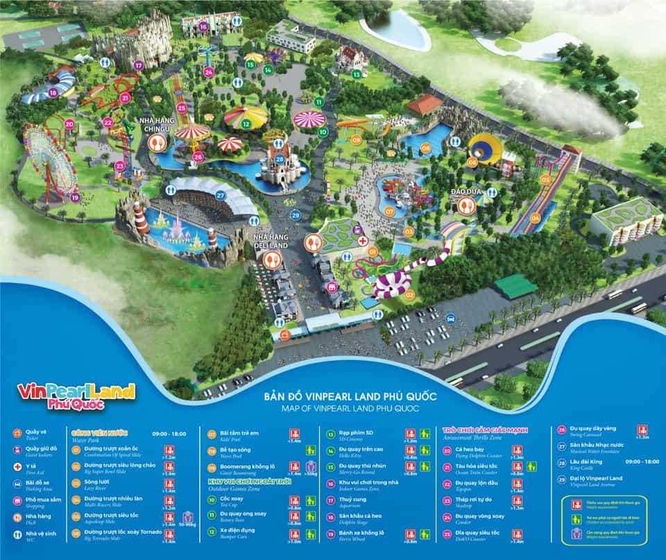 Bản đồ vui chơi Vinpearl Land Phú Quốc