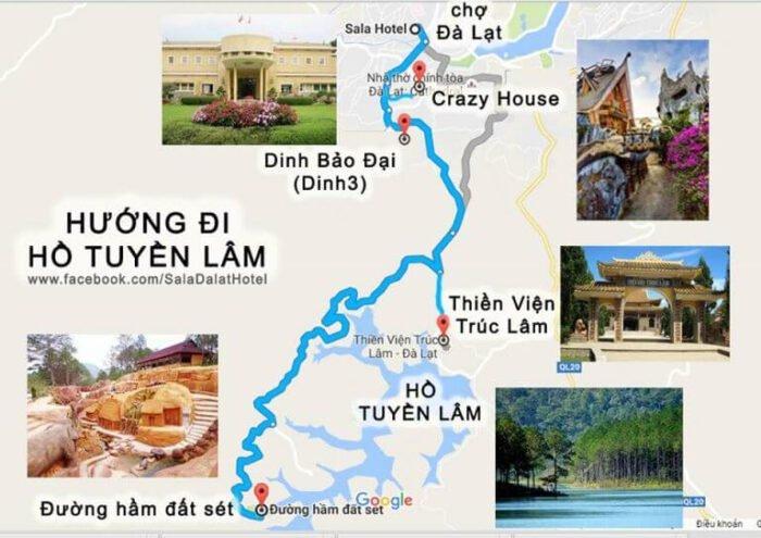 Bản đồ đường đi đến đường hầm đất sét Đà Lạt