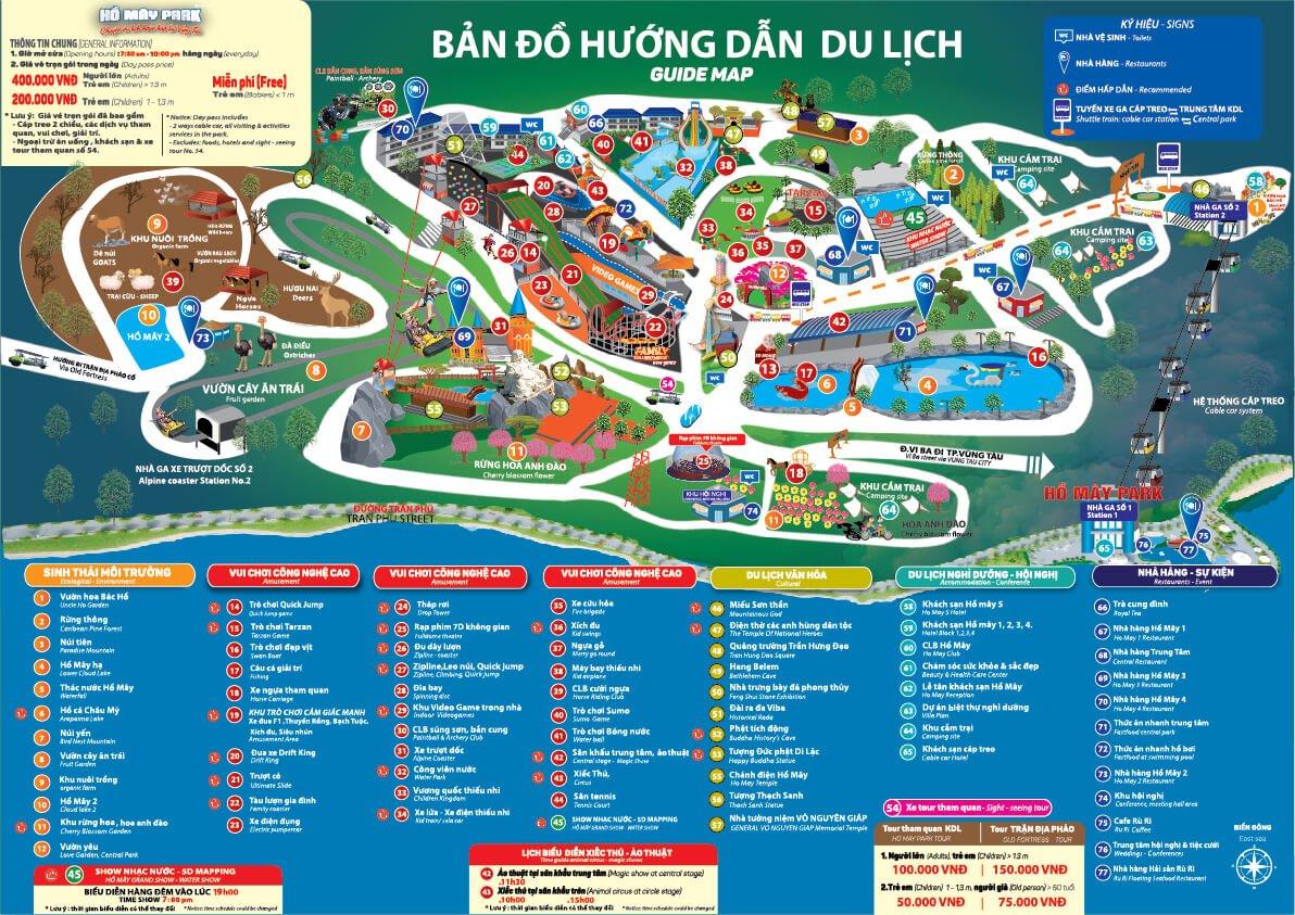 Sơ đồ tham quan khu du lịch Hồ Mây , Vũng Tàu